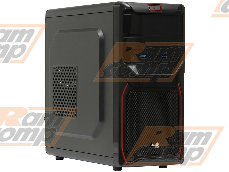 "Корпус Minitower Aerocool ""Qs-183 Advance Red"", mATX, черный (без БП)"