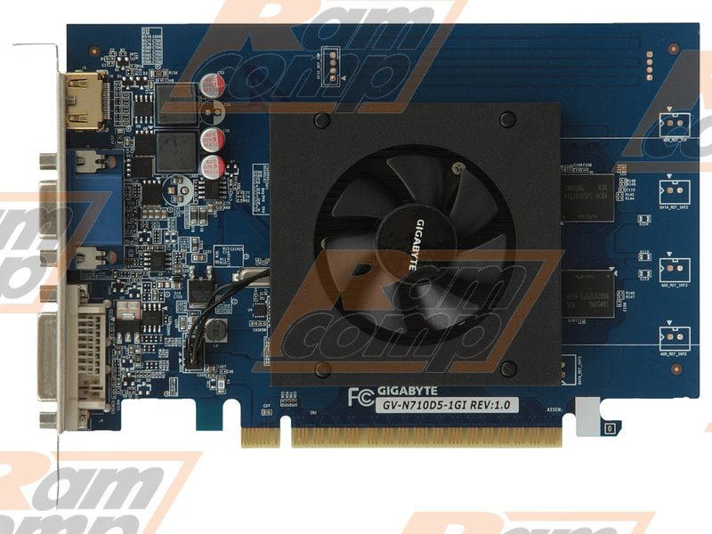 "Видеокарта GIGABYTE ""GeForce GT 710 1ГБ"" GV-N710D5-1GI (GeForce GT 710, DDR5, D-Sub, DVI, HDMI) (PCI-E)"